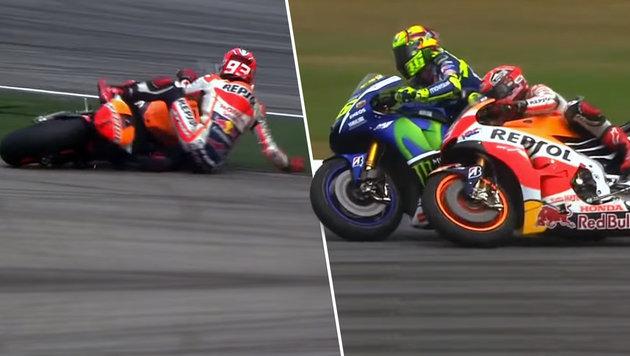 Honda: Rossi hat Marquez absichtlich gekickt! (Bild: YouTube.com)