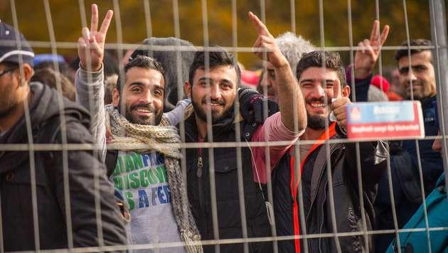 Flüchtlinge: Wilde Prügelszenen in Spielfeld (Bild: APA/AFP/Rene Gomolj)