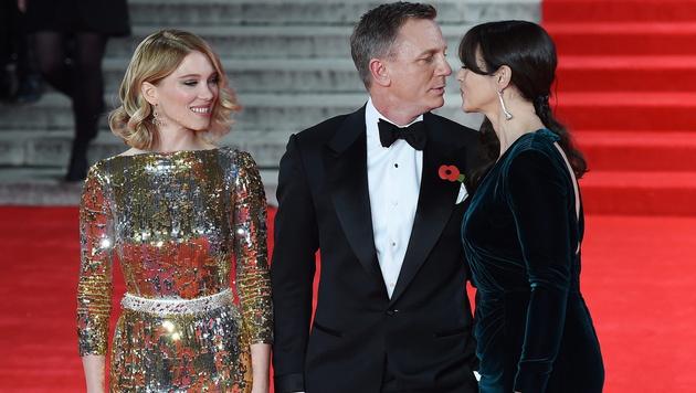 Lea Seydoux, Daniel Craig, Monica Bellucci (Bild: APA/EPA/ANDY RAIN)