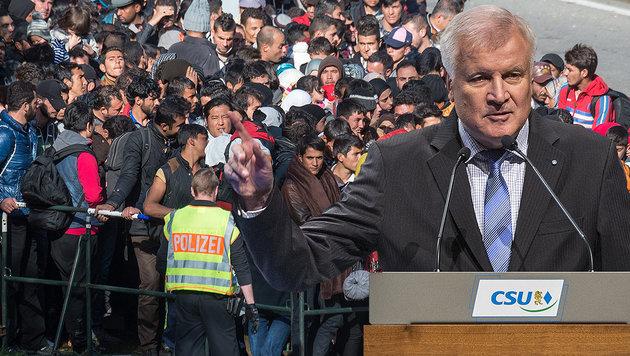 """200.000 Flüchtlinge pro Jahr - sonst klagen wir!"" (Bild: APA/EPA/ARMIN WEIGEL, dpa)"
