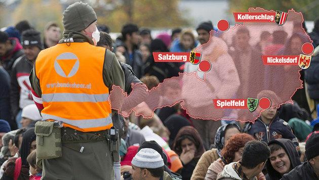 """Die Brennpunkte der Flüchtlingskrise im Überblick (Bild: APA/ERWIN SCHERIAU, """"Krone""""-Grafik)"""
