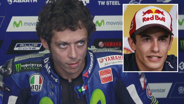 Valentino Rossi (links) und Marc Marquez (rechts) (Bild: EPA)