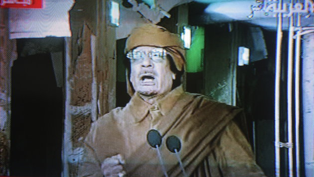 """""""Ich bin der Anführer der Revolution"""": Muammar al-Gaddafi appellierte 2011 noch einmal an sein Volk. (Bild: AL ARABIYA TELEVISION/EPA/picturedesk.com)"""