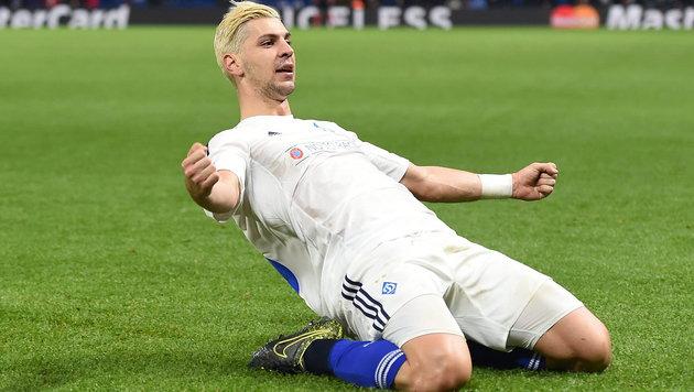 Nach seinem Tor zum 1:1 war für Aleks Dragovic die Dynamo-Welt kurzfristig wieder in Ordnung. (Bild: APA/EPA/ANDY RAIN)