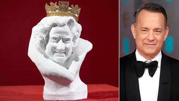 """Die Queen oder doch Tom Hanks? (Bild: APA/AFP/NIKLAS HALLE""""N, APA/EPA/FACUNDO ARRIZABALAGA)"""
