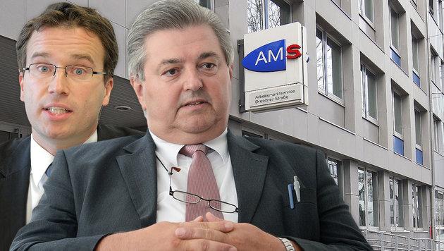 AMS-Vorstand Johannes Kopf und AMS-Vorstandsvorsitzender Herbert Buchinger (Bild: APA/Klemens Groh, APA/GEORG HOCHMUTH, APA/HELMUT FOHRINGER)