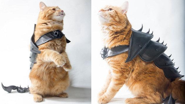 Tüftler enthüllt 3D-gedruckte Katzen-Kampfrüstung (Bild: thingiverse.com)