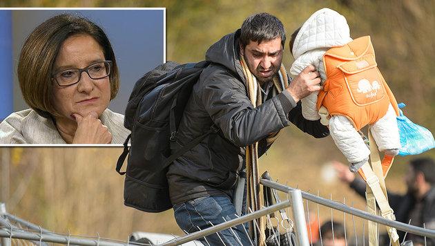 """""""Zäune dienen zum Schutz der Flüchtlinge"""" (Bild: AFP, ARD-Mediathek)"""