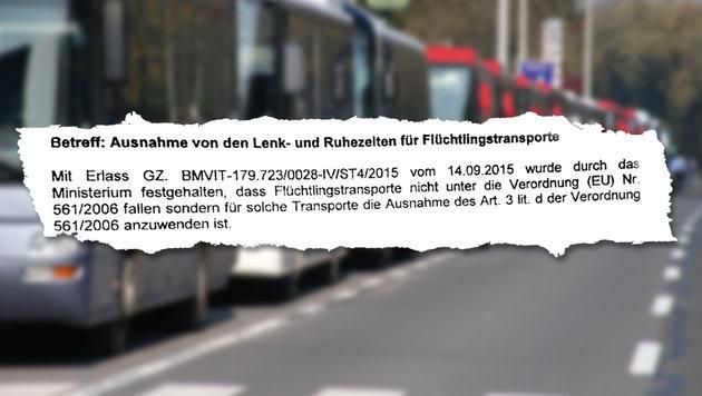 Das Ministerium setzte Ruhezeiten bei Flüchtlingstransporten außer Kraft. (Bild: Jürgen Radspieler, krone-Grafik)