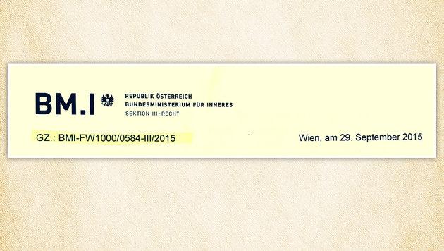 """Rechtliche Einschätzung des Innenministeriums zum """"Grenzübertritt aus humanitären Gründen"""" (Bild: Kronen Zeitung)"""