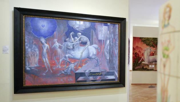 """Die Werke von Ernst Fuchs: Das Gemälde """"Jesus vor Pilatus"""" im """"Phantasten Museum Wien"""" (Bild: APA/HERBERT NEUBAUER)"""