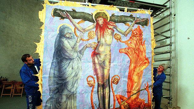 """Das 1978 zerstörte Triptychon """"Die Geheimnisse des hochheiligen Rosenkranzes"""" nach der Restaurierung (Bild: APA/Herbert Pfarrhofer/Gebhard Löhnert)"""