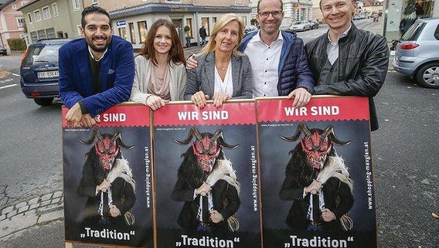 """""""Wir sind Tradition"""" sagen die Maxglaner Kaufleute Einy, Majstonovic, Schwaiger, Kebsak und Wulz. (Bild: Markus Tschepp)"""