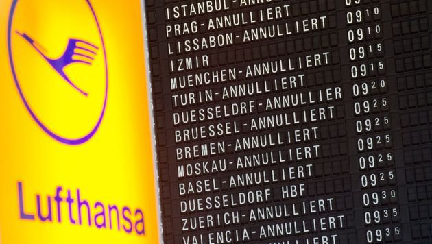 Lufthansa-Pilotenstreik geht bis Freitag weiter (Bild: APA/AFP/Boris Rössler)