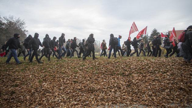 Sperren durchbrochen: Demo in Spielfeld aufgelöst (Bild: APA/ERWIN SCHERIAU)