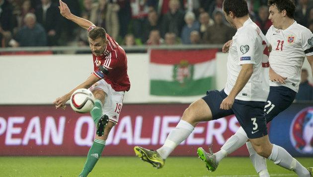 Tamas Priskin beim Schuss zum 1:0 für Ungarn (Bild: APA/EPA/Szilard Koszticsak)