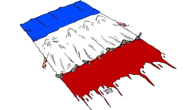 """Paris-Attentate: Mit Kunst gegen den Terror (Bild: Twitter.com/ClaudeGaignard, LatuffCartoons)"""
