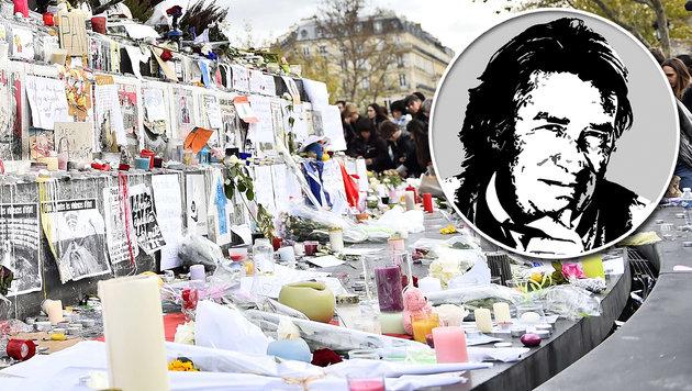 """Terror in Paris: """"Was tun, liebe Landsleute?"""" (Bild: AFP, Krone-Grafik)"""