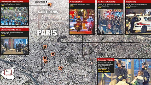 Die Anschlagsorte in Paris (Bild: Krone-Grafik)
