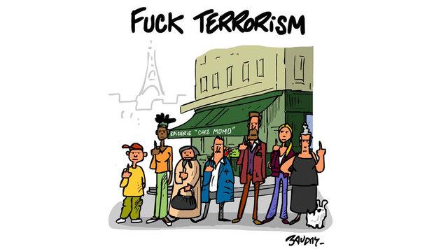 """Paris-Attentate: Mit Kunst gegen den Terror (Bild: Twitter.com/hervebaudry)"""