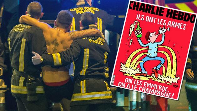 """Charlie Hebdo"": Merkel braucht ""neuen Auspuff"" (Bild: APA/EPA/IAN LANGSDON, Charlie Hebdo)"