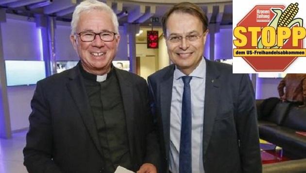 Gegen den transatlantischen Freihandelspakt: Erzbischof Franz Lackner und Spar-Chef Gerhard Drexel (Bild: Markus Tschepp)
