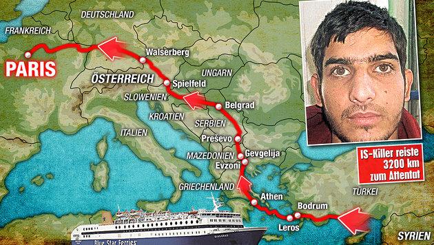Paris: Terror-Duo kam über Flüchtlingsroute (Bild: Kronen Zeitung, AP, krone.at-Grafik)