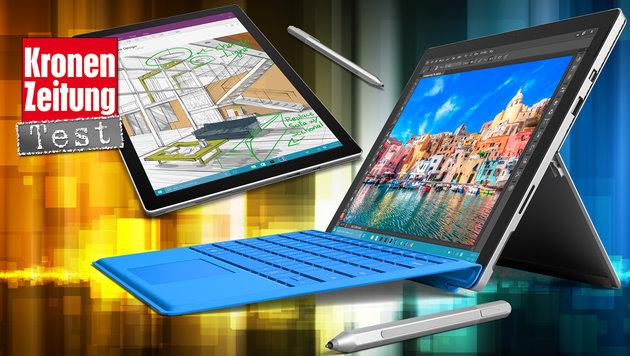 Fast am Ziel: Microsoft Surface Pro 4 am Prüfstand (Bild: Microsoft, thinkstockphotos.de)