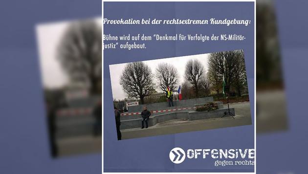 Aufregung um rechte Demo auf Deserteursdenkmal (Bild: facebook.com/offensivegegenrechts)