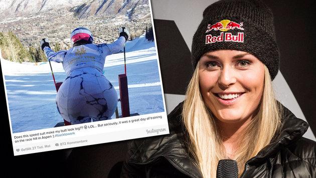 """Vonn fragt Fans: """"Schaut mein Hintern groß aus?"""" (Bild: APA/EPA/GIAN EHRENZELLER, instagram.com/lindseyvonn)"""