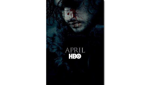 """Jon Snow (Kit Harington) ziert mit blutigem Gesicht ein von HBO veröffentlichtes """"GoT 6""""-Plakat. (Bild: HBO)"""