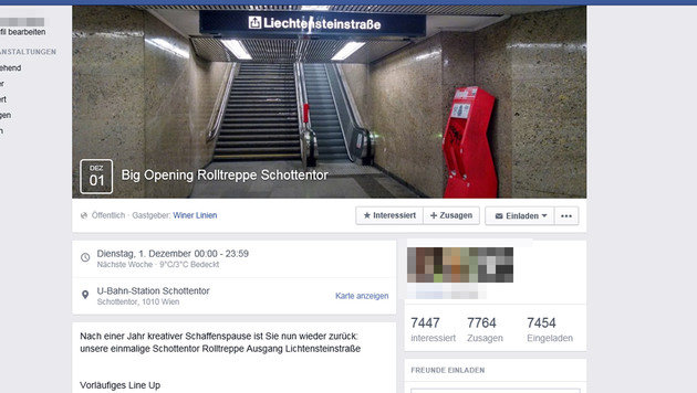 """Rolltreppen-Opening"" wird zum Facebook-Hit (Bild: Screenshot facebook.com)"
