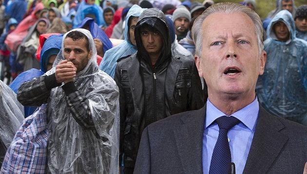 """EU-Grenzen notfalls mit Gewalt schützen"" (Bild: APA/ERWIN SCHERIAU, APA/HELMUT FOHRINGER)"