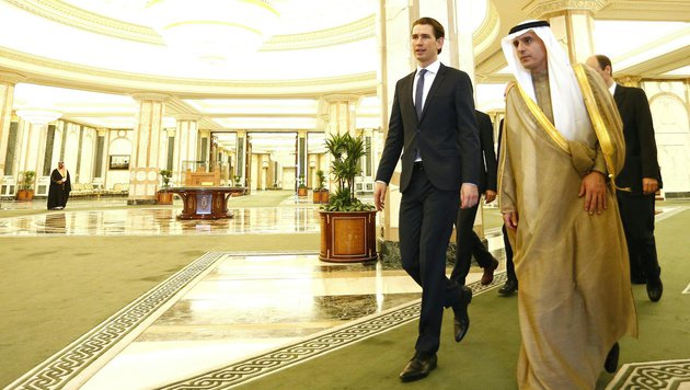 Außenminister Sebastian Kurz und sein saudischer Amtskollege Adel al-Jubeir (Bild: APA/DRAGAN TATIC)