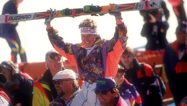 Anno 1991: Petra Kronberger jubelt in Saalbach über WM-Gold. (Bild: GEPA pictures)