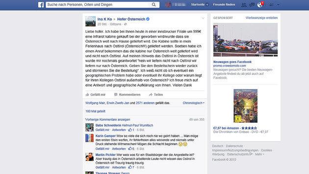 Geografisches Hoppala bei Hofer erheitert das Netz (Bild: Screenshot facebook.com)