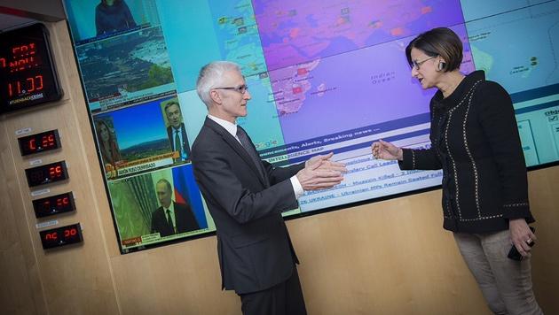 Interpol-Chef Jürgen Stock und Innenministerin Johanna Mikl-Leitner