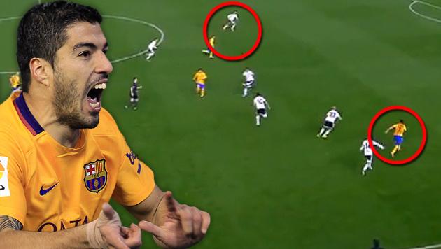 Abseitstor von Suarez verhindert Pleite von Barca (Bild: AP, Laola)