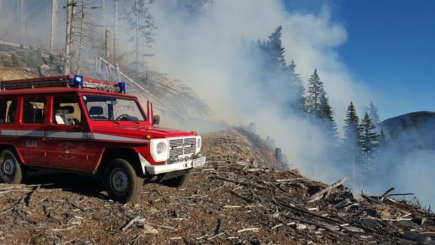 Die Zufahrt zu den Brandherden gestaltete sich in dem steilen Gelände schwierig. (Bild: APA/FF LEOBEN-STADT/M. SCHWARZ)
