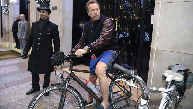"""Arnie und Andrä: """"Helft uns, die Erde zu retten!"""" (Bild: APA/AFP/Eric Feferberg)"""