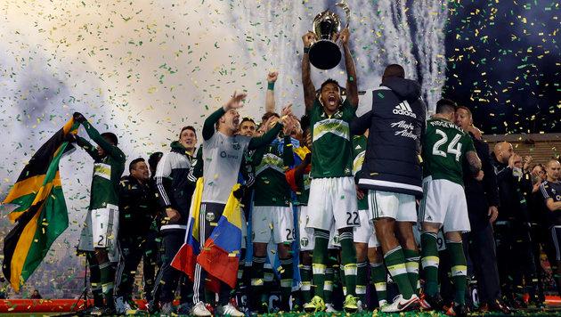Die Spieler von Portland feiern den MLS-Titel. (Bild: GEPA)
