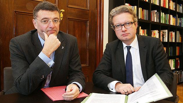 SP-Landesrat Jörg Leichtfried und Gesundheitslandesrat Christopher Drexler (Bild: Jürgen Radspieler)