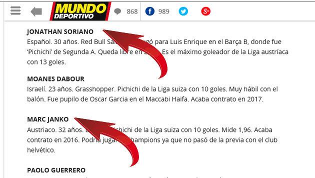 Marc Janko auf Wunschliste des FC Barcelona? (Bild: Mundo deportivo)