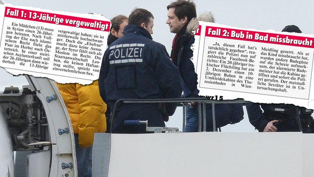 """Darf �ber Taten von Fl�chtlingen berichtet werden? (Bild: dpa, """"Krone"""")"""