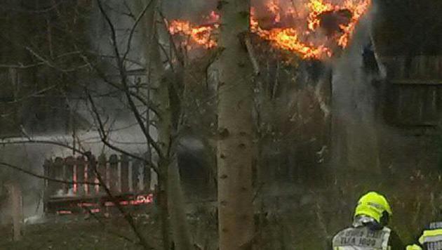Die Hütte brannte lichterloh, als die Einsatzkräfte eintrafen. (Bild: APA/FF LEOBEN-STADT)