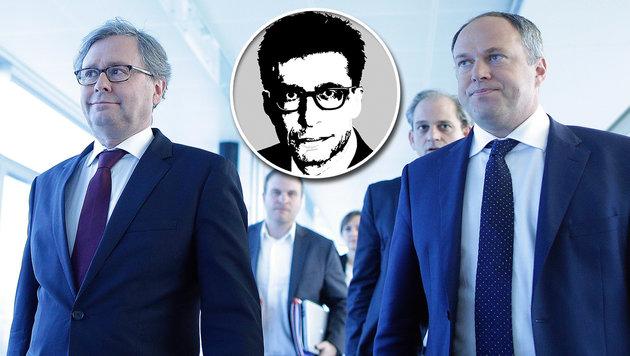 ORF-Generaldirektor Alexander Wrabetz und Finanzdirektor Richard Grasl (Bild: APA/GEORG HOCHMUTH, Krone-Grafik)