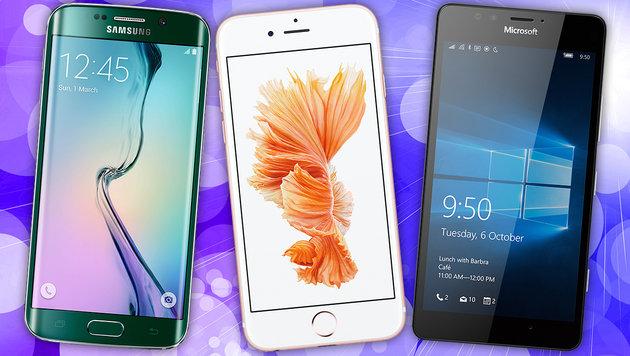 Heiße Handys: Das war das Smartphone-Jahr 2015 (Bild: Samsung, Apple, Microsoft, thinkstockphotos.de)