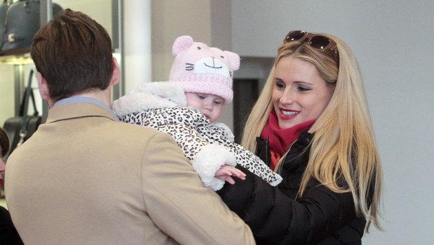 Michelle Hunziker mit Baby Celeste und Ehemann Tomaso Trussardi (Bild: Viennareport)