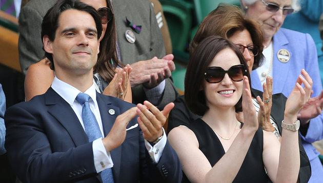 Michelle Dockery mit John Dineen bei einem Tennismatch in Wimbledon (Bild: www.viennareport.at)