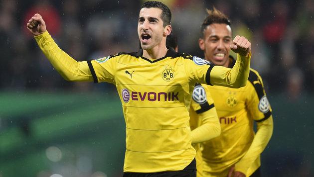 Der Jubel der Dortmunder Mkhitaryan und Aubameyang (Bild: AFP or licensors)